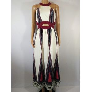Crystal Sky Cream & Burgundy Maxi Dress